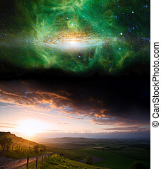 wizerunek, planety, noc, elementy, nasa., zachód słońca, to, niebo, krajobraz, okolica, dostarczony, gov