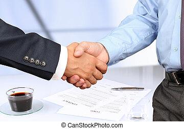 wizerunek, szczelnie-do góry, pod, między, uzgodnienie, kontrakt, dwa, firma, koledzy