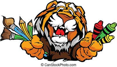 wizerunek, tiger, wektor, maskotka, rysunek, preschool, szczęśliwy