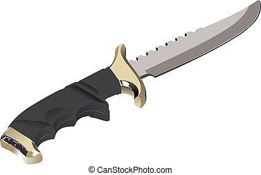 wizerunek, wektor, białe tło, nóż