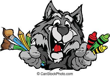 wizerunek, wektor, wilk, maskotka, rysunek, preschool, szczęśliwy