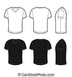 wizje lokalne, wstecz, przód, t-shirt, czysty, bok