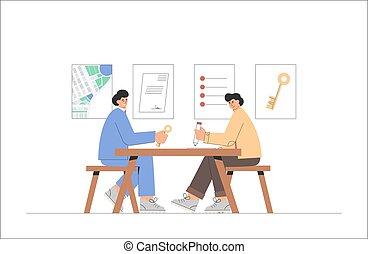wkładając, człowiek, wektor, styl, kupno dom, stan, spotkanie, płaski, pojęcie, illustration., agency., biuro., kupować, porozumienie, prawdziwy, documents., znaki