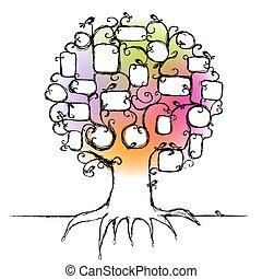 wkładka, rodzina, fotografie, drzewo, projektować, układa, twój