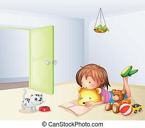 wnętrze, zabawki, pokój, dziewczyna, kot