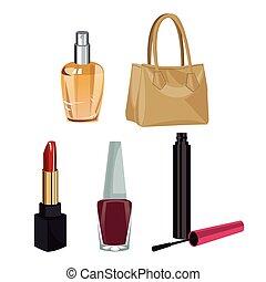 wo, makijaż, fason, przybory, zbiór