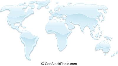 woda, świat, ilustracja, mapa