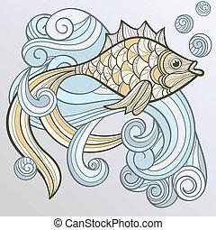 woda, abstrakcyjny, fish, bryzg, wektor
