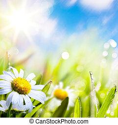 woda, abstrakcyjny, niebo, tło, sztuka, lato, słońce trawy, kwiat, krople