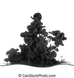 woda, bryzg, czarnoskóry, puszczony, atrament, biały