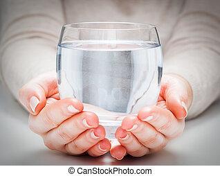 woda, drink., minerał, zdrowy, babski, ochrona, środowisko, szkło, czysty, hands.