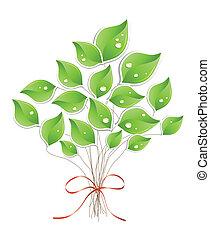 woda, drzewo, wektor, droplets., zielony