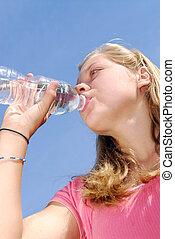woda, dziewczyna, picie, młody