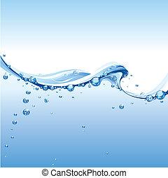 woda, jasny, bańki, machać