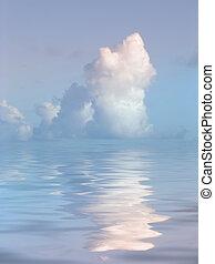 woda, jasny, na, chmura