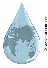 woda kropelka, światowa mapa