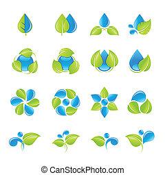 woda, liście, ikona, komplet