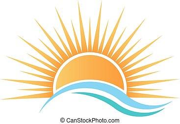 woda, na, światło słoneczne, waves.