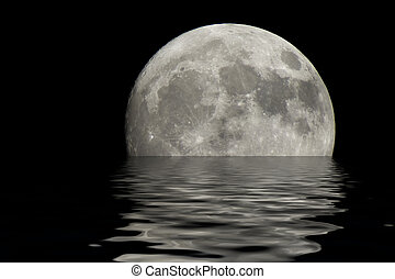 woda, na, księżyc