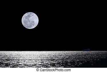woda, na, pełnia księżyca