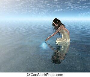 woda, nimfa, odbicie
