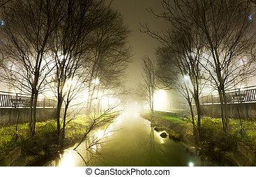 woda, noc, kanał