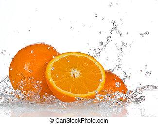 woda, owoce, pomarańcza, bryzgając
