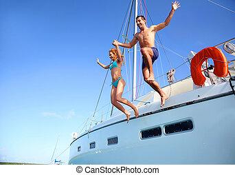 woda, para, skokowy, jacht, młody