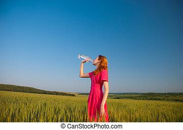 woda, picie, kobieta