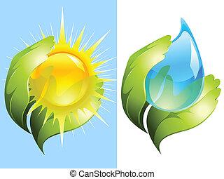 woda, słońce, keeping, zielony, siła robocza