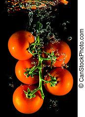 woda, spadanie, pomidory