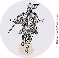 wojownik, akwaforta, katana, grzbiet koński, miecz samuraja