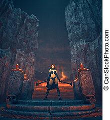 wojownik, kaprys, miecze, samica, przedstawienie