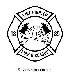 wojownik, ogień, resque, n, :, odznaka