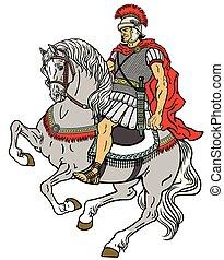 wojownik, rzymski, koń