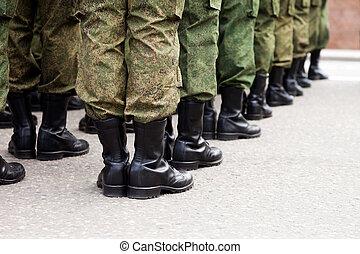 wojskowy, żołnierz, jednolity, hałas