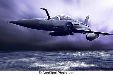 wojskowy, airplan, szybkość