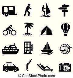 wolny czas, rozrywka, na wolnym powietrzu, ikony