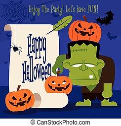 woluta, halloween., papier, halloween, szczęśliwy, zielony, dynia, retro, dzierżawa, litera, potwór