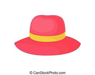 women., ilustracja, tło., wektor, biały kapelusz, czerwony