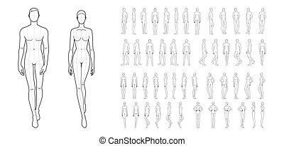 women., mężczyźni, 50, fason, szablon