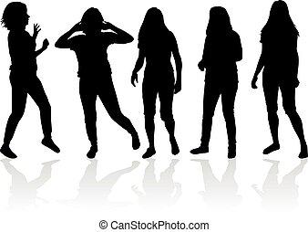 women., sylwetka, czarnoskóry