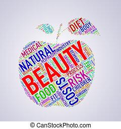 wordcloud, healthcare, formułować, piękno, jabłko