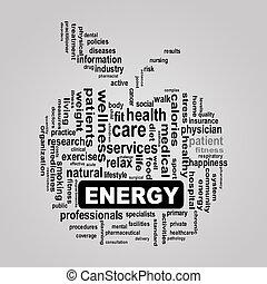 wordcloud, pojęcie, jabłko, energia, healthcare