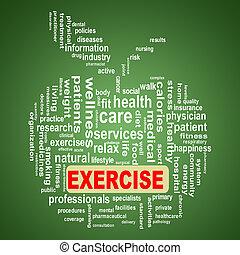 wordcloud, pojęcie, jabłko, ruch, healthcare