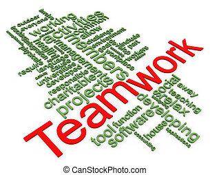wordcloud, teamwork, 3d