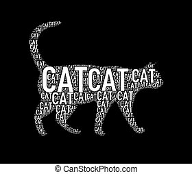 wordcloud, wordtags, formułować, ilustracja, kot