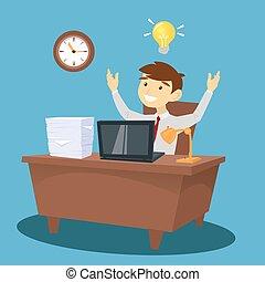 work., biuro., miał, ilustracja, idea., wektor, biznesmen, biały kołnierz, człowiek