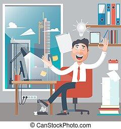 work., pomyślny, biuro., miał, ilustracja, idea., wektor, businessman., biznesmen, biały kołnierz, człowiek