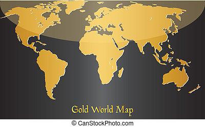 world., złoty, mapa